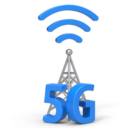 3d 5G con la antena, la tecnología de comunicación inalámbrica Foto de archivo - 63140814