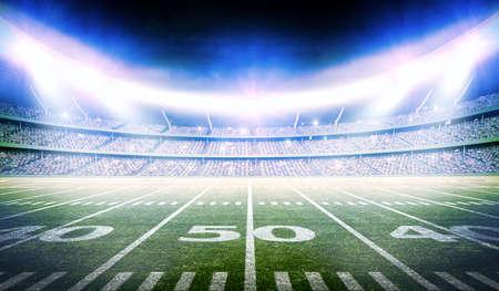 3d american football stadium, the stadium is modeled and rendered imaginary. Standard-Bild