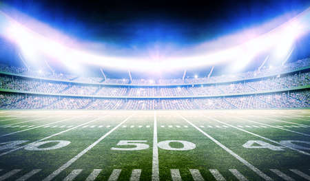 lines game: 3d american football stadium, the stadium is modeled and rendered imaginary. Stock Photo