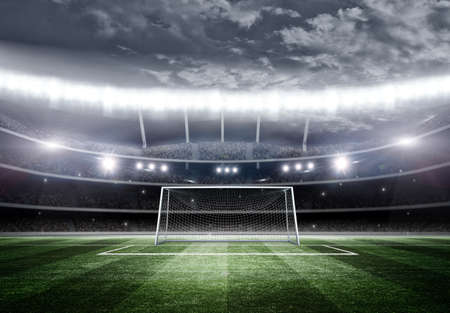 Goal post 3d, the imaginary stadium is modeled and rendered.