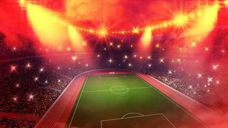 rival rivals rivalry season: stadium arena 3d hot night, the imaginary stadium is modeled and rendered. Stock Photo