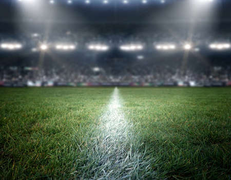 stadium lights, the imaginary stadium is modeled and rendered. Stock Photo