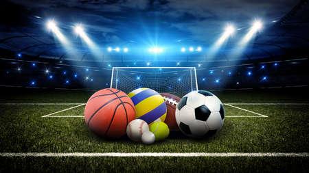 Todas as bolas esportivas no estádio, estádio e esporte As bolas imaginárias são modeladas e renderizadas. Foto de archivo