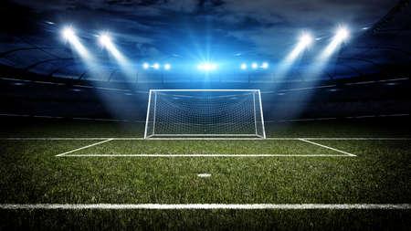 metas: Estadio de fútbol y poste de la meta, el estadio de fútbol imaginario y poste de la meta se modelan y se prestan.