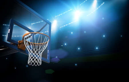 college basketball: Basketball arena, the imaginary basketball arena is modeled and rendered. Stock Photo