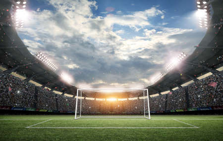 The imaginary soccer stadium and goalpost, 3d rendering