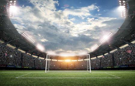 El estadio de fútbol imaginario y poste de la portería, representación 3D Foto de archivo - 66830586