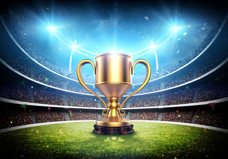 Winner cup in the stadium, the imaginary stadium and winner cup are modeled and rendered.