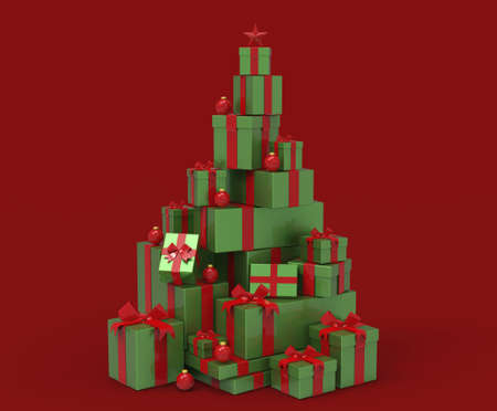 3d present boxes, Christmas tree concept
