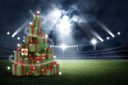 現在の 3 d 箱、スタジアムでクリスマス ツリーの概念 写真素材