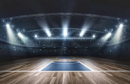 Koszykówki arena, 3d rendering. Wyimaginowana arena do koszykówki jest modelowana i renderowana.