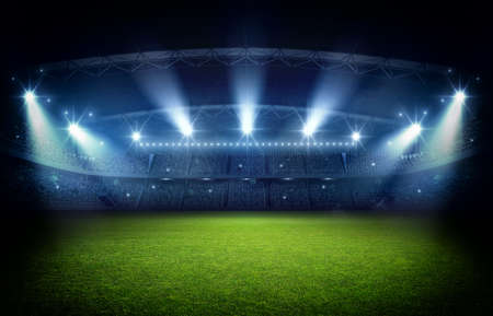 Stadium, 3d rendering. The imaginary football stadium is modeled and rendered.