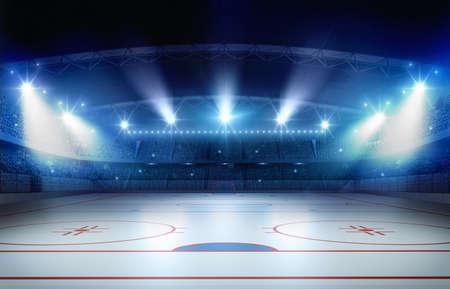 아이스 하 키 스타디움 3d 렌더링입니다. 가상의 아이스 하키 스타디움이 모델링되어 렌더링됩니다. 스톡 콘텐츠