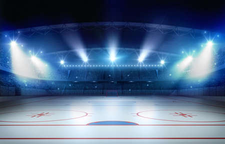 Ice hockey stadium 3d rendering. the imaginary ice hockey stadium is modeled and rendered.