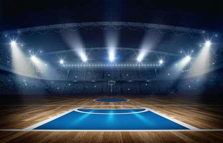 농구 경기장, 3d 렌더링입니다. 상상의 농구 경기장이 모델링되어 렌더링됩니다. 스톡 콘텐츠