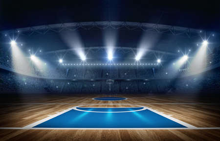 Basketball arena, 3d rendering. The imaginary basketball arena is modeled and rendered.