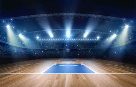 Campo de baloncesto, representación 3D. El estadio de baloncesto imaginario es modelado y representado. Foto de archivo - 77435047