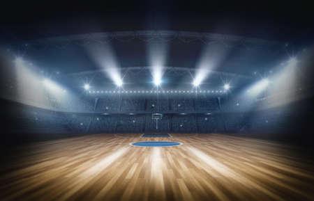 농구 경기장, 3d 렌더링입니다. 상상의 농구 경기장이 모델링되어 렌더링됩니다. 스톡 콘텐츠 - 77381724