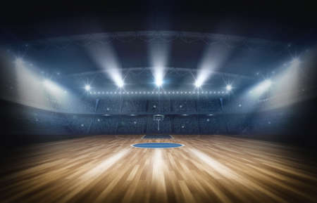 Basketball arena, 3d rendering. The imaginary basketball arena is modeled and rendered. Banco de Imagens