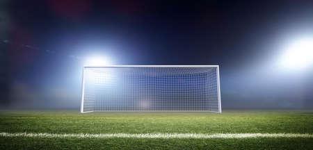 Palo della porta, l'immaginario stadio di calcio è modellato e reso.