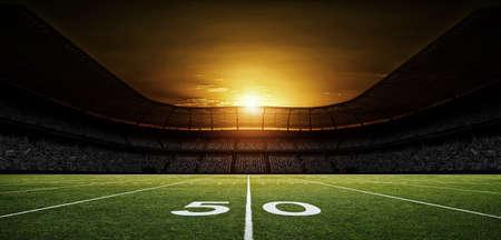 アメリカンフットボールスタジアム、架空のサッカースタジアムがモデル化され、レンダリングされます。 写真素材 - 97462932