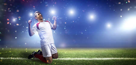 Goal celebration, the imaginary soccer stadium is modeled and rendered. 写真素材