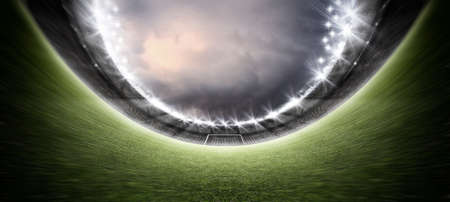 stadium, the imaginary soccer stadium is modeled and rendered. 写真素材