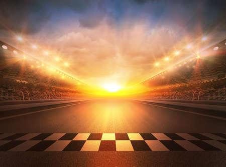 Track arena, l'arena immaginaria della pista è modellata e renderizzata. Archivio Fotografico