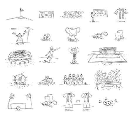 サッカーの落書きのイラスト 写真素材 - 97941421