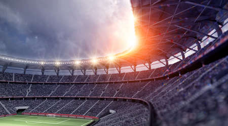 The stadium, the imaginary football stadium is modelled and rendered. Standard-Bild - 101719459