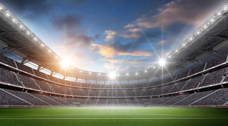The stadium, the imaginary football stadium is modelled and rendered.