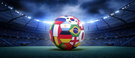 Soccer ball in the stadium.The imaginary football stadium is modelled and rendered.