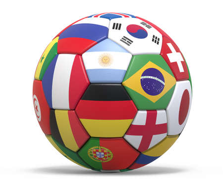 Soccer ball 3d rendering.The imaginary ball is modeled and rendered.