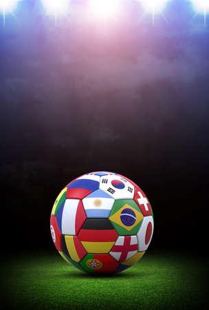 スタジアムでサッカーボール。想像上のサッカースタジアムはモデル化され、レンダリングされます。 写真素材 - 102025579