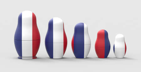 Russian nesting doll with flag, 3d rendering.The imaginary Russian doll is modeled and rendered. Standard-Bild