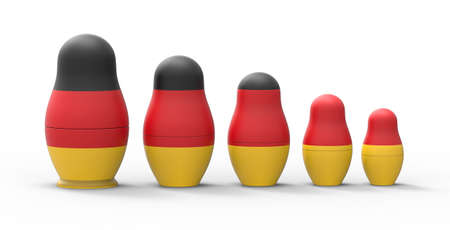 Russian nesting doll with Germany flag, 3d rendering.The imaginary Russian doll is modeled and rendered. Standard-Bild