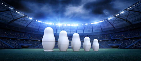 Stadium and russian doll 3d rendering, the imaginary football stadium is modeled and rendered.