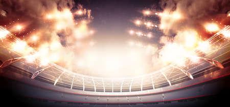 スタジアム。想像上のサッカースタジアムはモデル化され、レンダリングされます。 写真素材 - 105551971