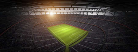 The stadium.The imaginary football stadium is modeled and rendered.