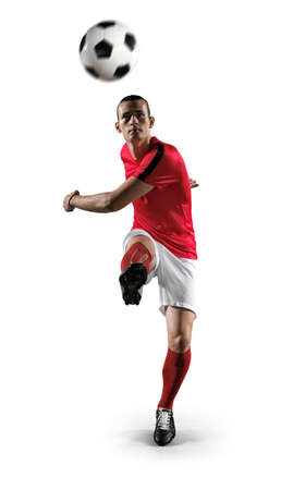Soccer player in action on white background.Photo of soccer player in action on isolated background.