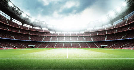 The stadium. The imaginary football stadium is modelled and rendered.