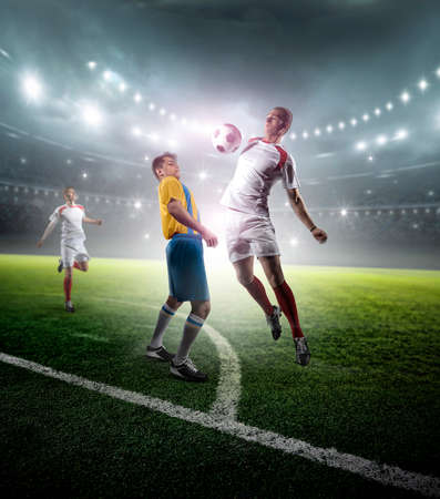 Soccer players in stadium. The imaginary stadium is modelled and rendered.