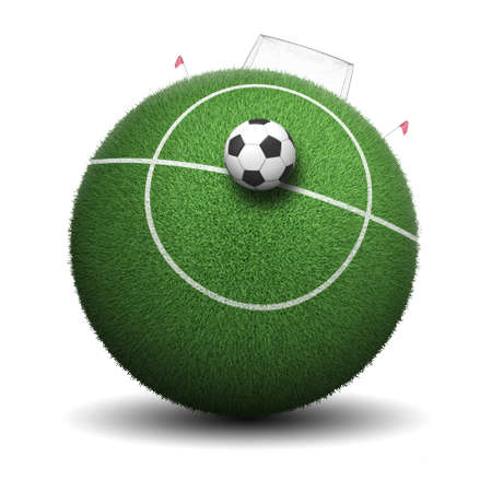Soccer ball and grass, 3d render Foto de archivo