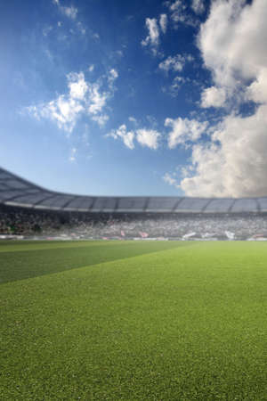 Football stadium and cloudy sky, 3d render 写真素材