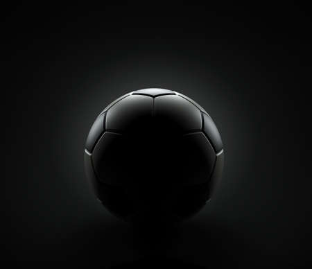 Soccer ball on the black background, 3d render Foto de archivo