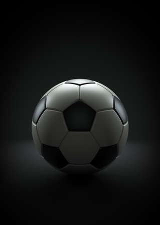 Soccer ball on the  black background, 3d render