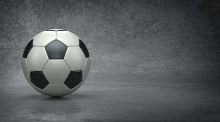 Soccer ball in concrete background, 3d render