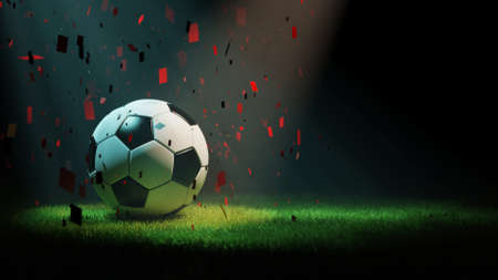 Soccer ball and grass with confetties 3d rendering 写真素材