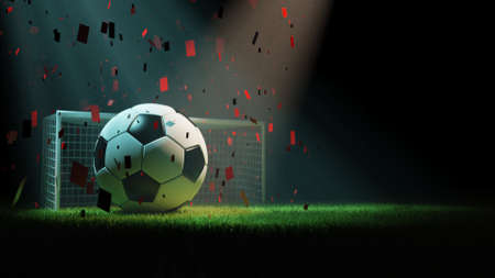 Soccer ball, goal post and grass, 3d rendering