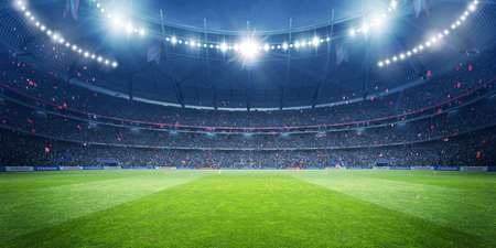 Football stadium at night. An imaginary stadium is modeled and rendered.
